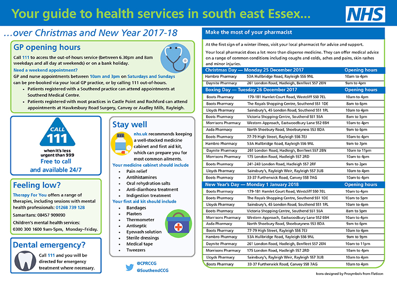 Xmas and New Year 2017 Health Services Guide