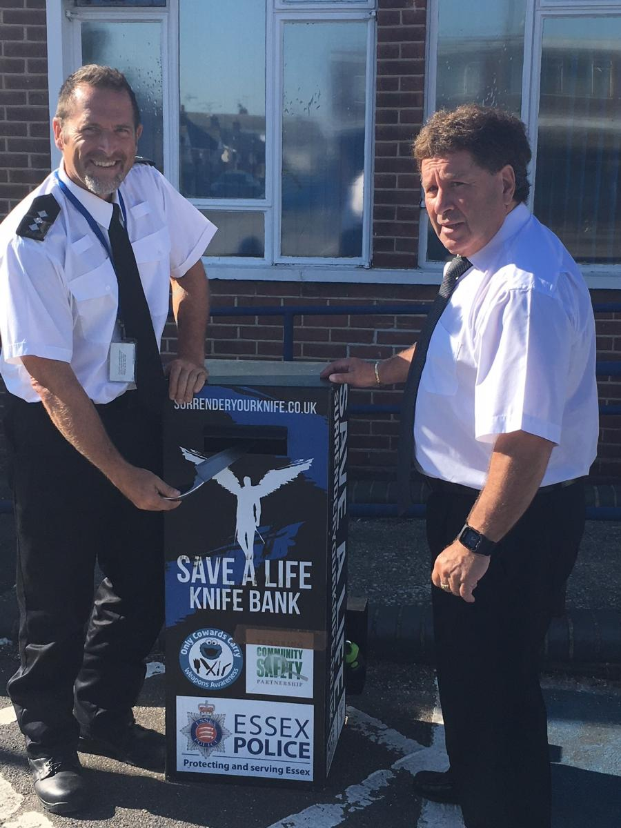 Photo: Chief Inspector Glen Westley and Cllr Godfrey Isaacs at the newly installed knife amnesty bin in Canvey