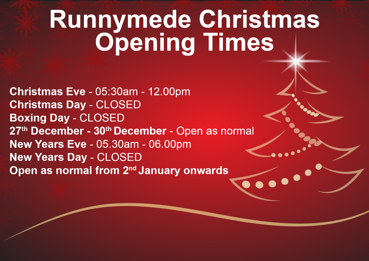 Runnymede Christmas Closing Times